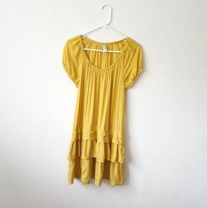 Anthro Maeve Mustard Yellow Drop Waist Mini Dres